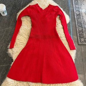 Red long sleeve sweater dress CANDIE'S